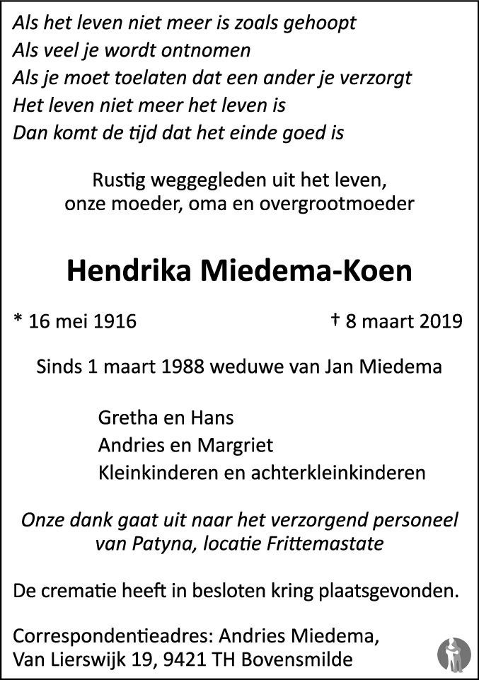 Overlijdensbericht van Hendrika Miedema - Koen in Sneeker Nieuwsblad