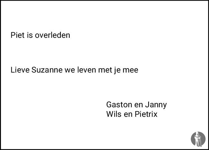 Overlijdensbericht van Pieter Daam (Piet) van der Wal in Friesch Dagblad