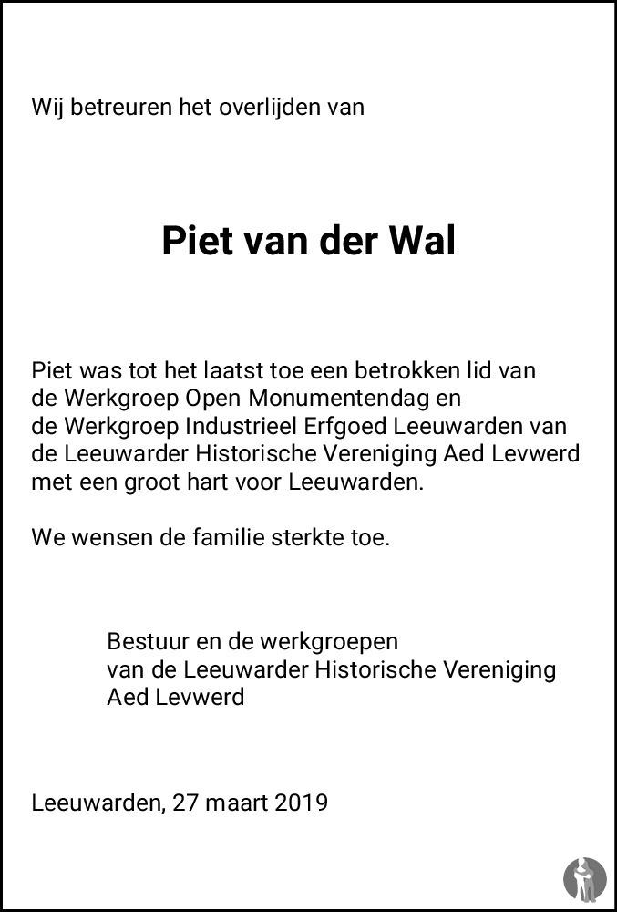 Overlijdensbericht van Pieter Daam (Piet) van der Wal in Franeker Courant