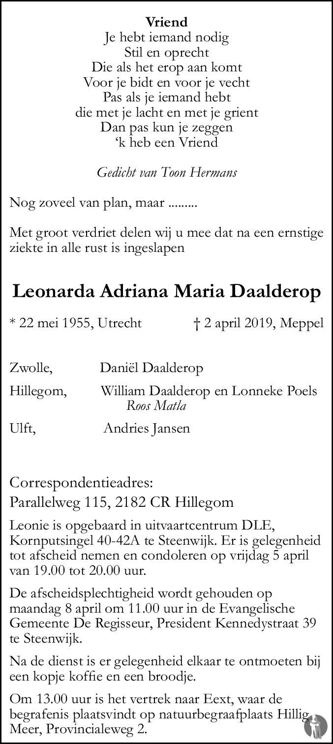 Leonarda Adriana Maria Daalderop 02 04 2019