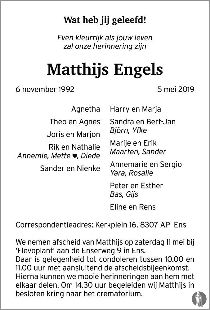 Matthijs Engels 05 05 2019 Overlijdensbericht En