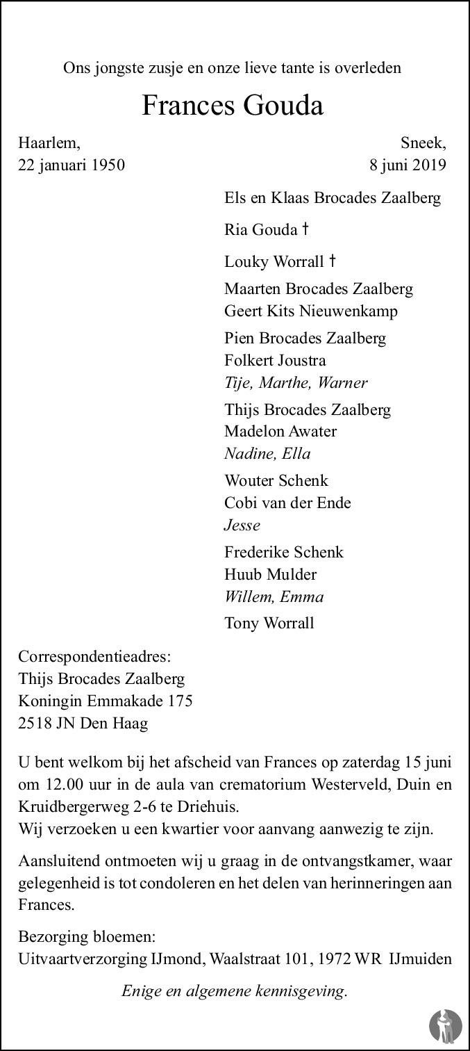 Overlijdensbericht van Frances Gouda in Franeker Courant