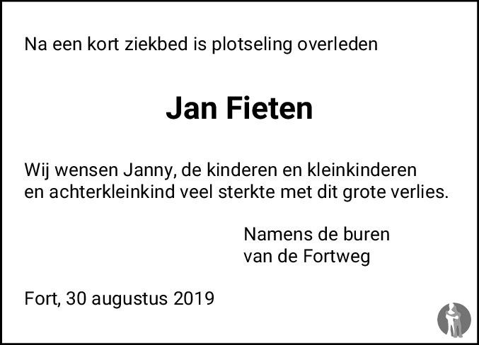 Overlijdensbericht van Jan Fieten in Meppeler Courant
