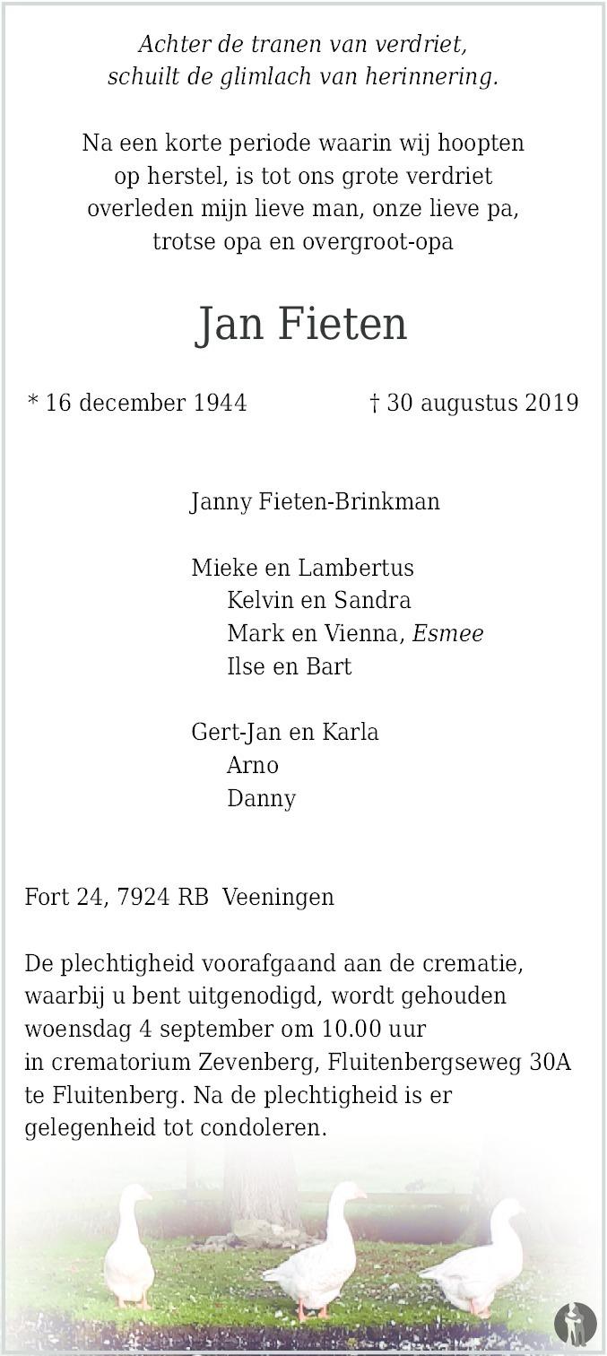 Overlijdensbericht van Jan Fieten in Hoogeveensche Courant