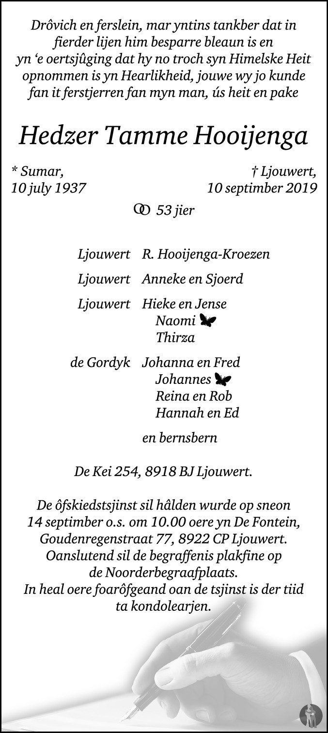 Overlijdensbericht van Hedzer Tamme Hooijenga in Leeuwarder Courant