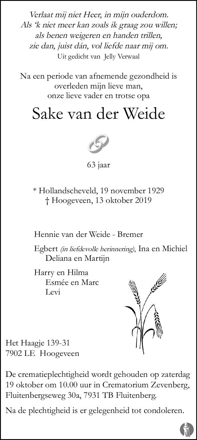 Sake Van Der Weide 13 10 2019 Overlijdensbericht En