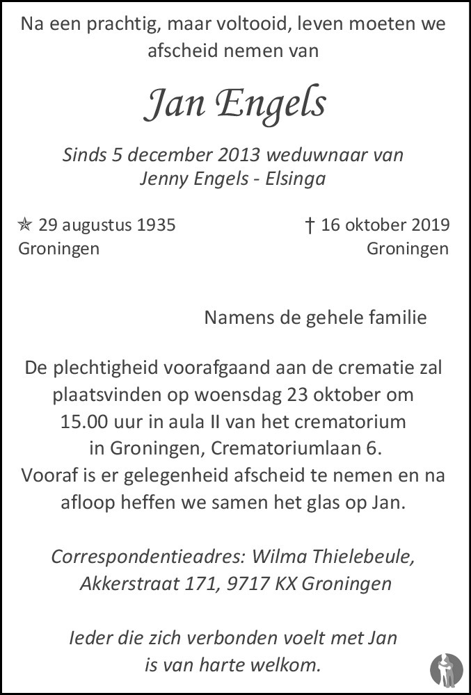Jan Engels 16 10 2019 Overlijdensbericht En Condoleances