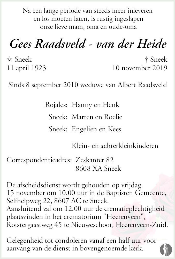 Overlijdensbericht van Gees Raadsveld - van der Heide in Sneeker Nieuwsblad