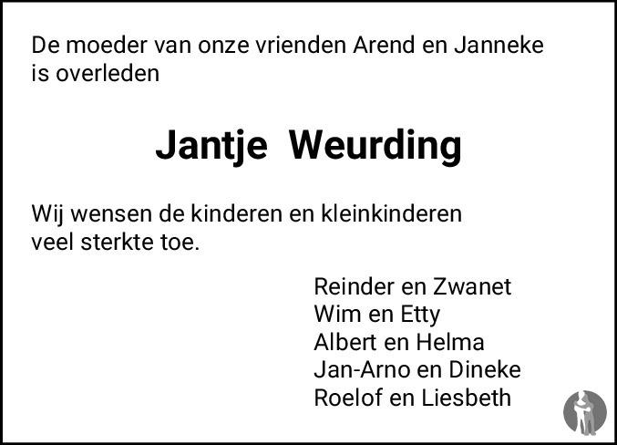 Overlijdensbericht van Jantje Weurding - Spijkman in Dagblad van het Noorden