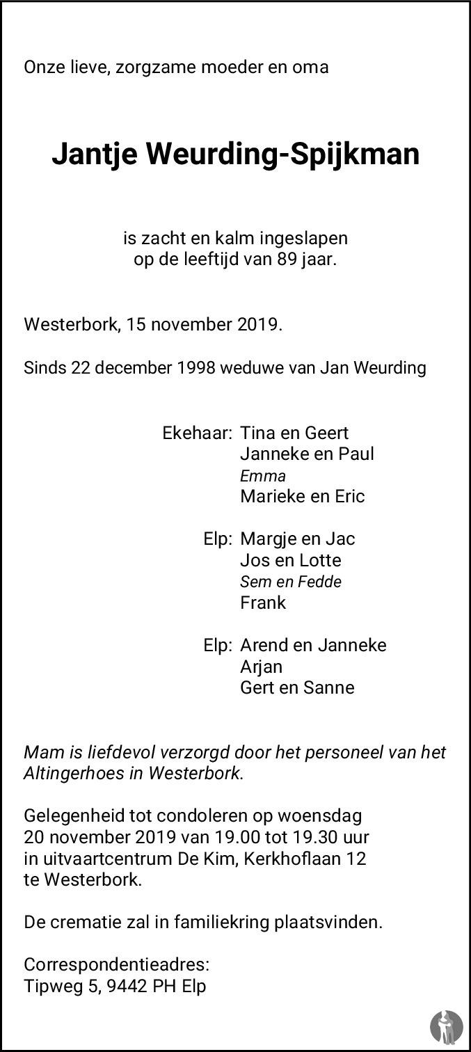 Overlijdensbericht van Jantje Weurding - Spijkman in De krant van Midden-Drenthe