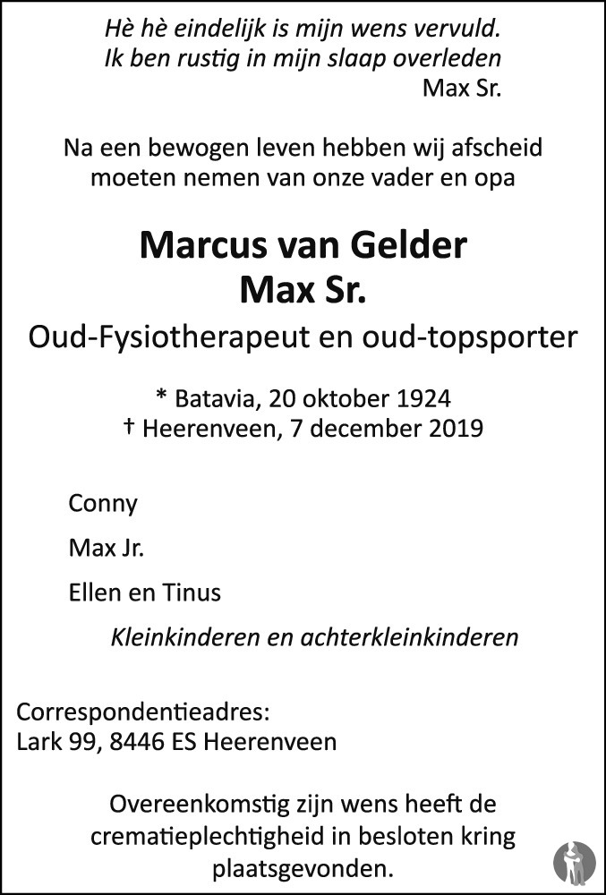 Overlijdensbericht van Marcus (Max Sr.) van Gelder in Leeuwarder Courant