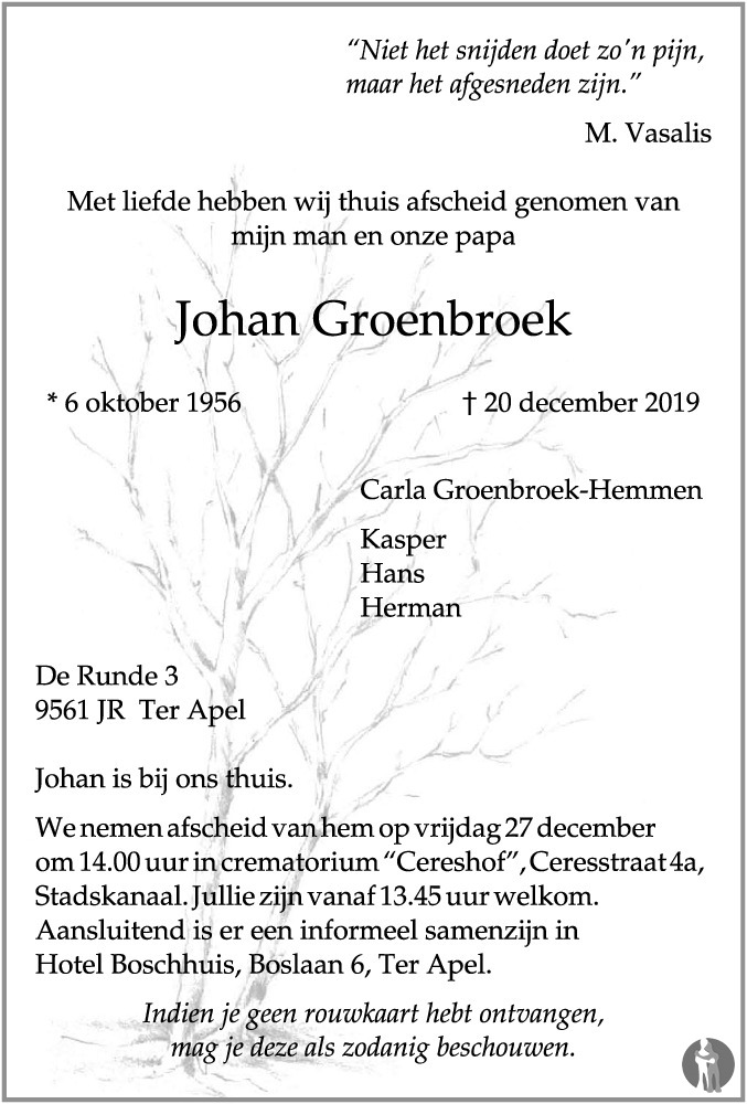 Johan Groenbroek 20 12 2019 Overlijdensbericht En