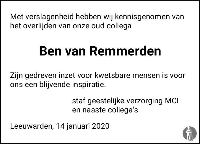 Overlijdensbericht van Ben van Remmerden in Leeuwarder Courant