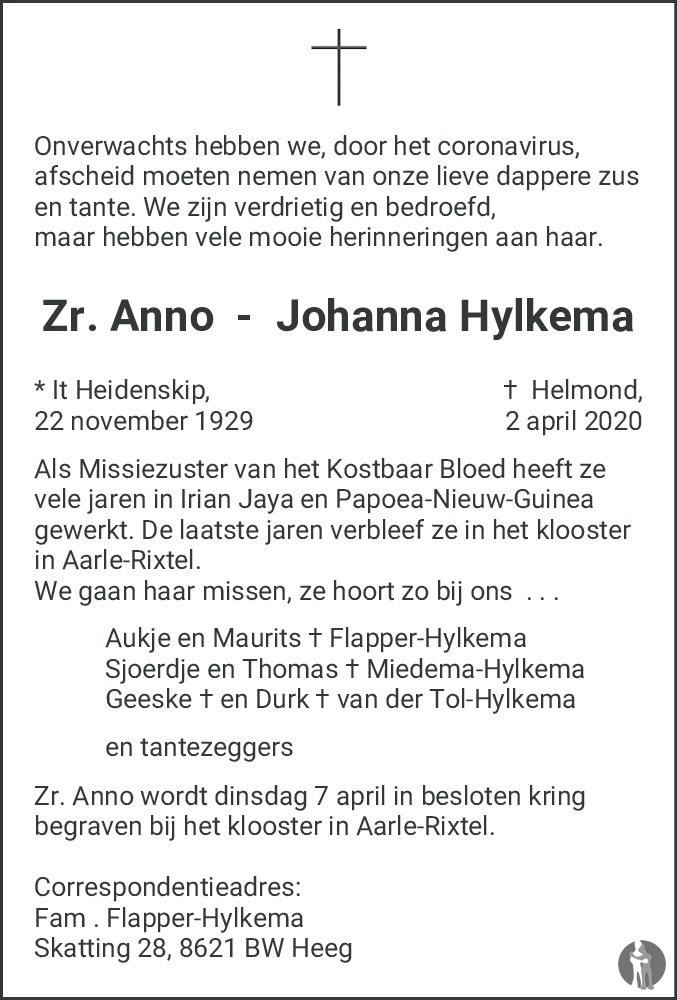 Overlijdensbericht van Anno Johanna Hylkema in Leeuwarder Courant
