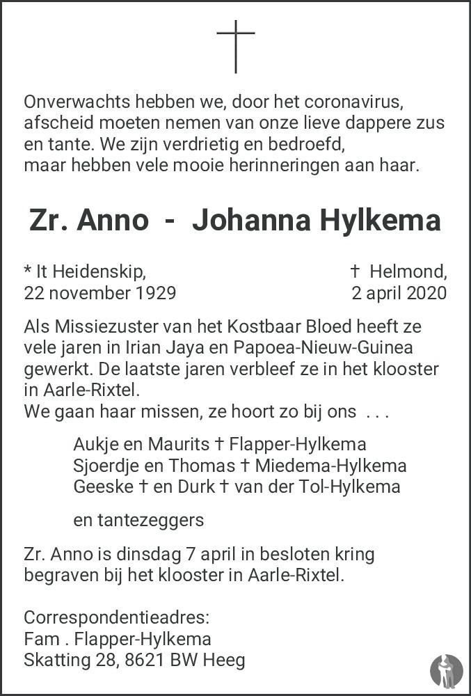 Overlijdensbericht van Anno Johanna Hylkema in Sneeker Nieuwsblad