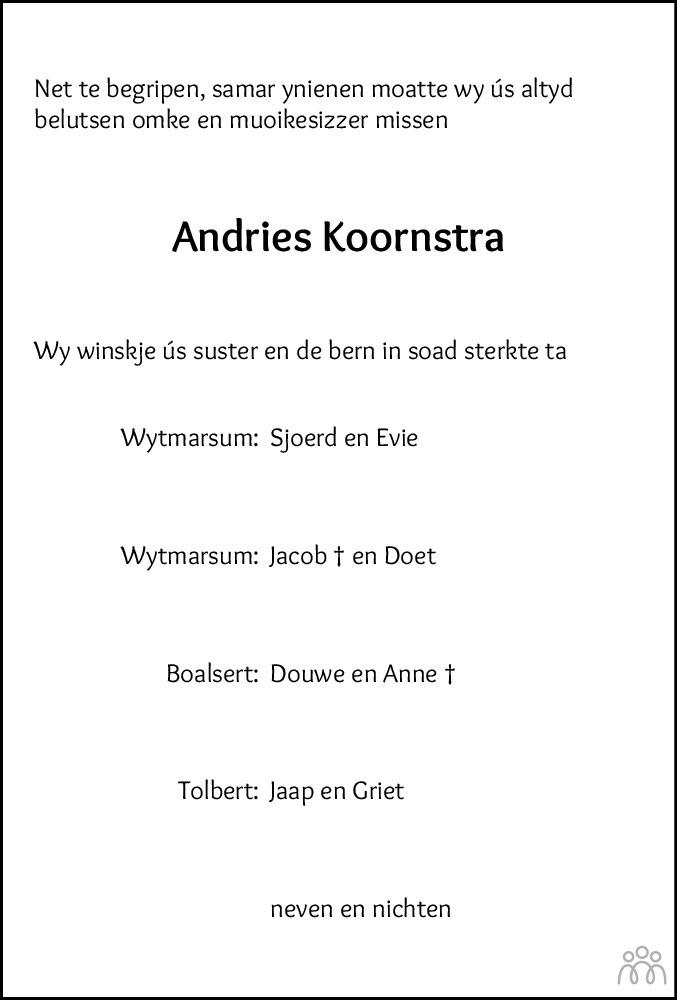 Overlijdensbericht van Andries Koornstra in Leeuwarder Courant