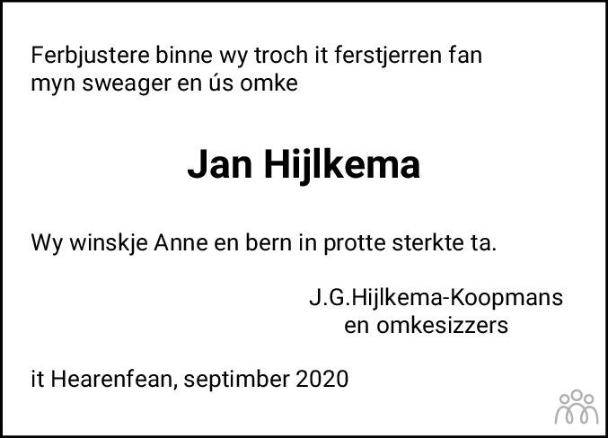 Overlijdensbericht van Jan Hijlkema in Leeuwarder Courant