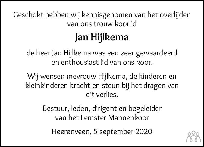 Overlijdensbericht van Jan Hijlkema in Jouster Courant