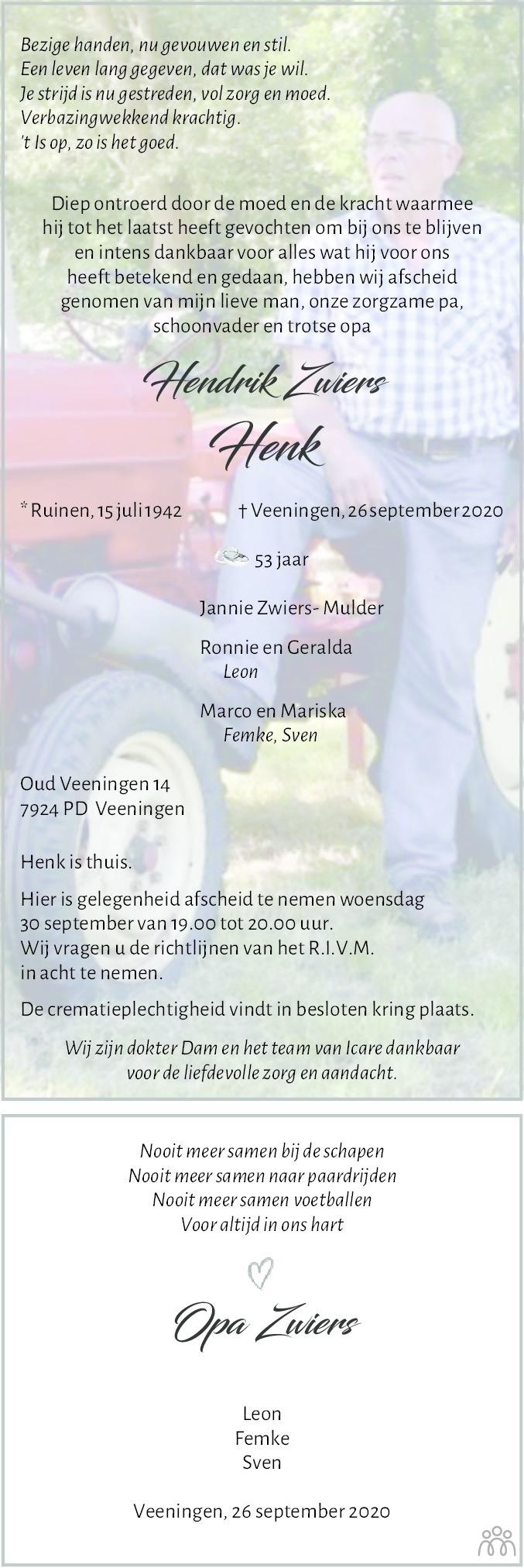 Overlijdensbericht van Hendrik Zwiers in Meppeler Courant