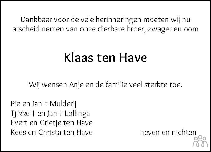 Overlijdensbericht van Klaas ten Have in Westerkwartier