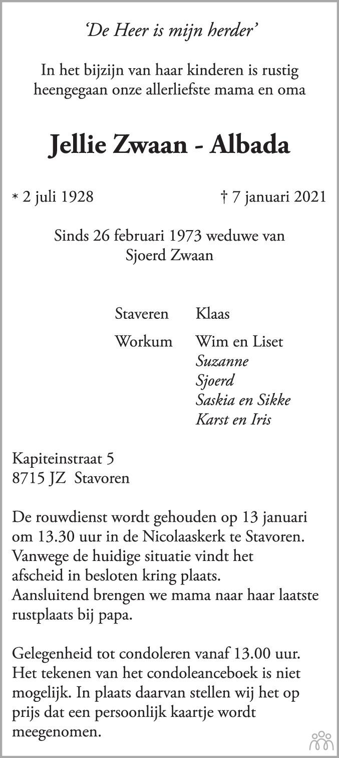 Overlijdensbericht van Jellie Zwaan-Albada in Leeuwarder Courant