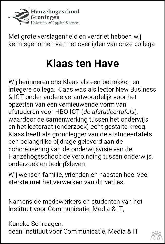 Overlijdensbericht van Klaas ten Have in Dagblad van het Noorden