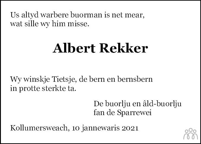 Overlijdensbericht van Albert Rekker in Dokkum Kollum Combinatie