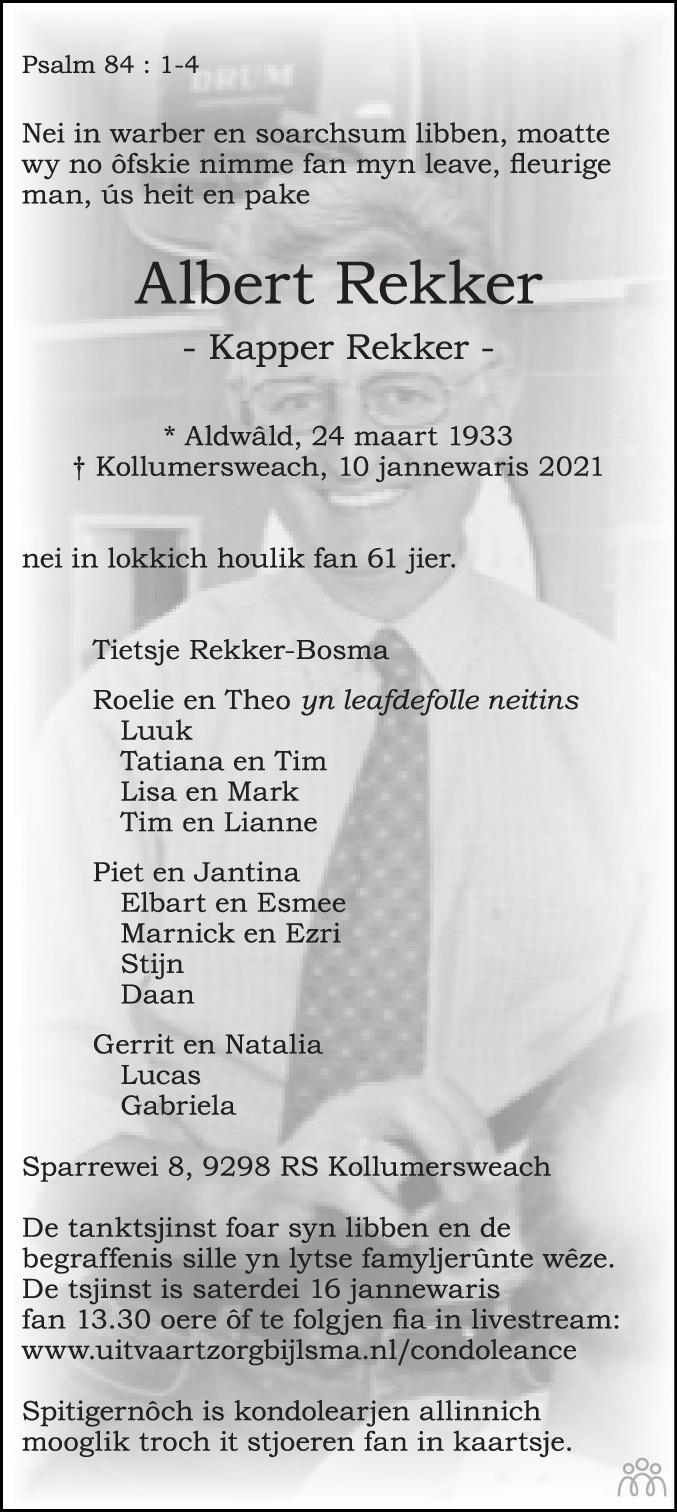 Overlijdensbericht van Albert Rekker in Leeuwarder Courant