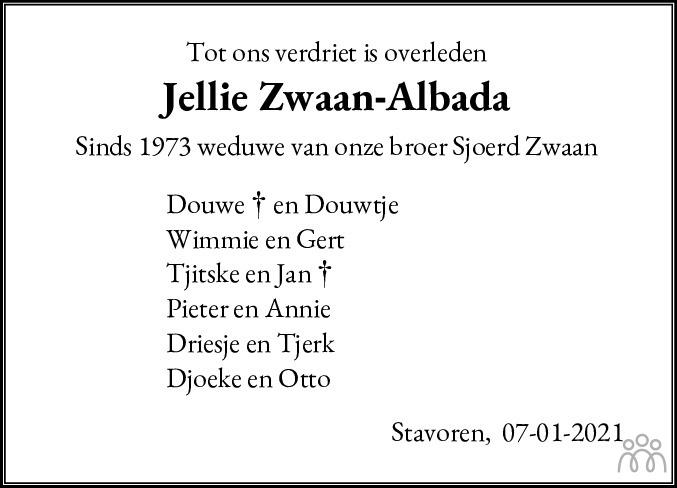 Overlijdensbericht van Jellie Zwaan-Albada in Bolswards Nieuwsblad