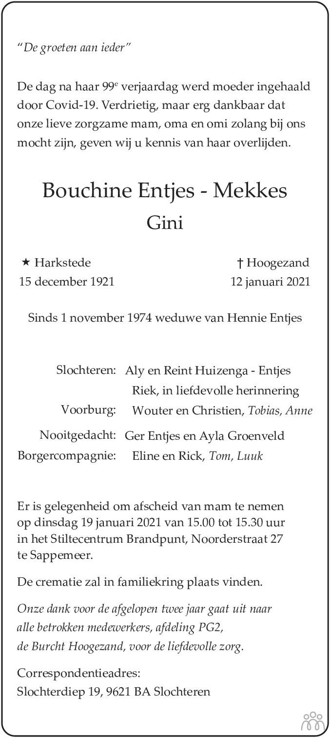Overlijdensbericht van Bouchine (Gini) Entjes-Mekkes in Dagblad van het Noorden