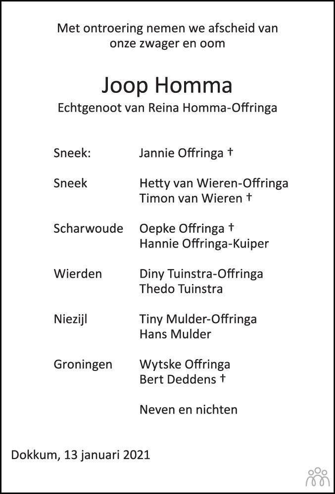 Overlijdensbericht van Johannes (Joop) Homma in Friesch Dagblad
