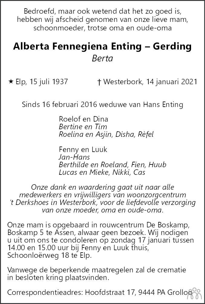 Overlijdensbericht van Alberta Fennegiena (Berta) Enting-Gerding in Dagblad van het Noorden
