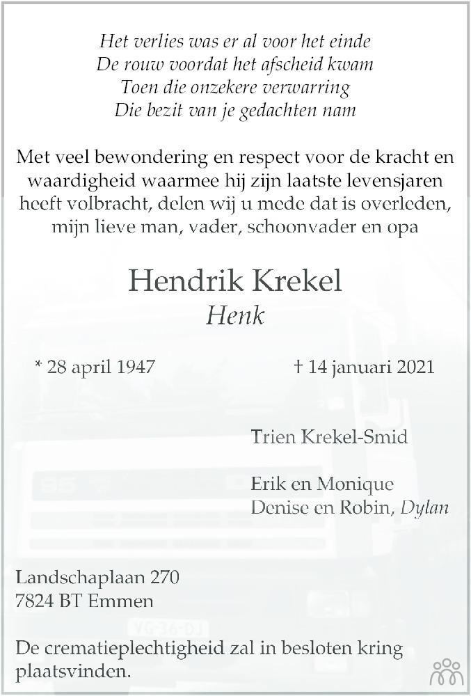 Overlijdensbericht van Hendrik (Henk) Krekel in Dagblad van het Noorden