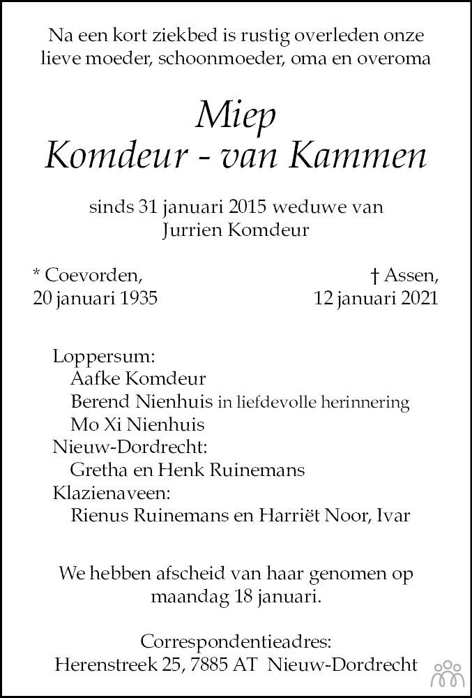 Overlijdensbericht van Miep Komdeur-van Kammen in Dagblad van het Noorden