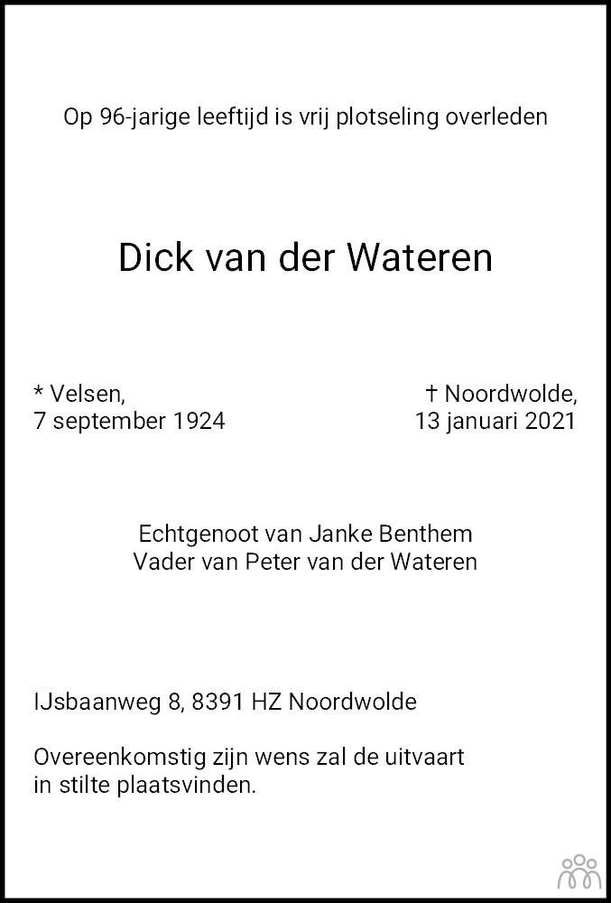 Overlijdensbericht van Dick van der Wateren in De Stellingwerf