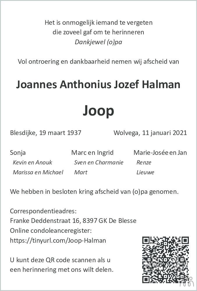 Overlijdensbericht van Joannes Anthonius Jozef (Joop) Halman in De Stellingwerf
