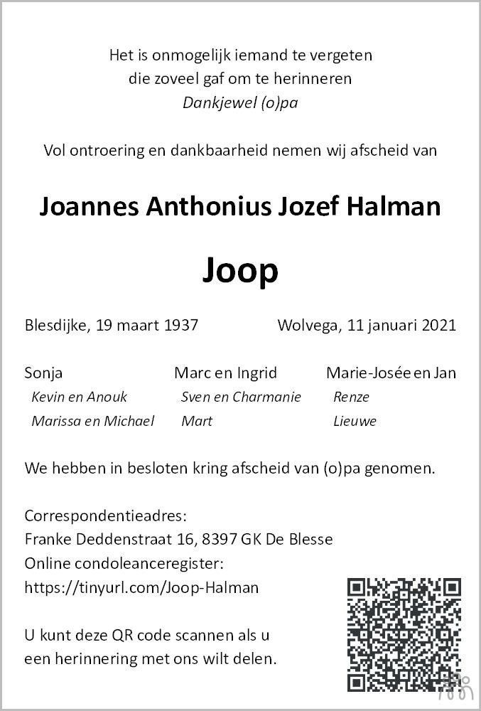 Overlijdensbericht van Joannes Anthonius Jozef (Joop) Halman in Steenwijker Courant