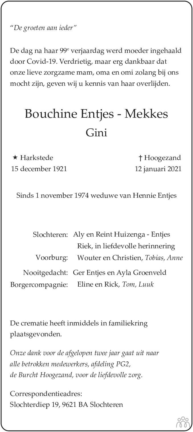 Overlijdensbericht van Bouchine (Gini) Entjes-Mekkes in HS-krant