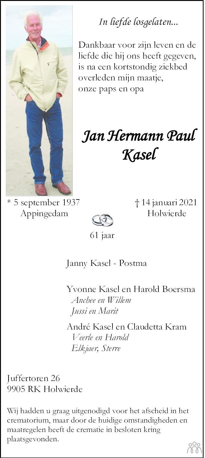 Overlijdensbericht van Jan Hermann Paul Kasel in Eemsbode/Noorderkrant