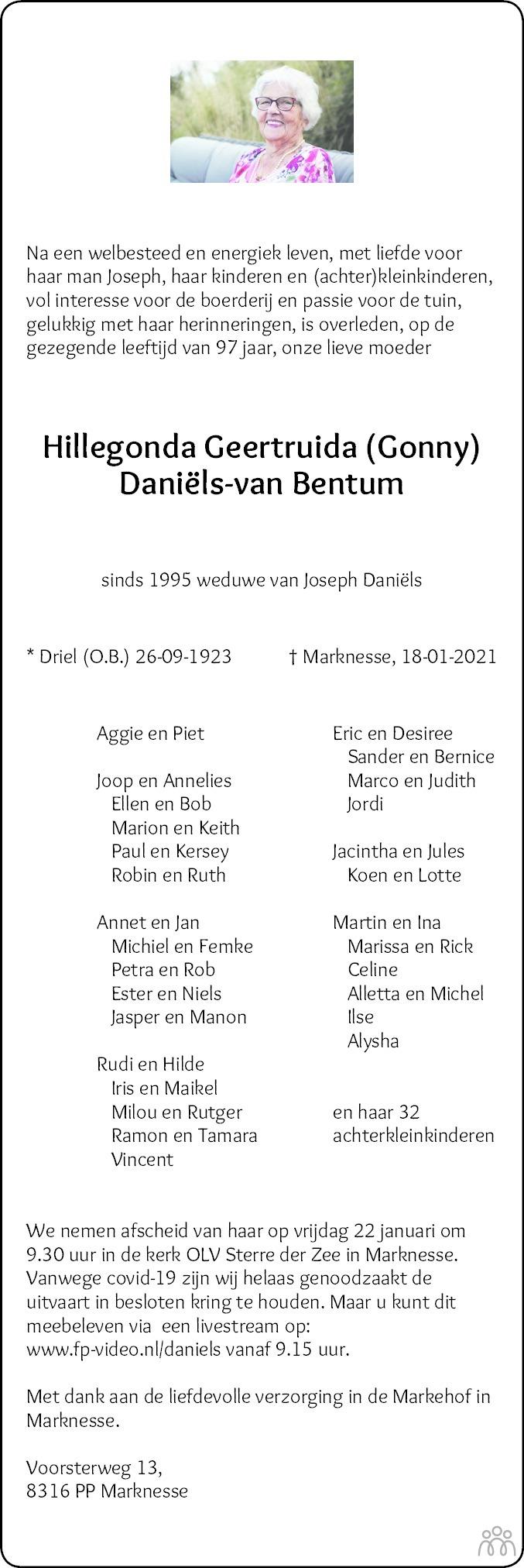 Overlijdensbericht van Hillegonda Geertruida (Gonny) Daniëls-van Bentum in Noordoostpolder