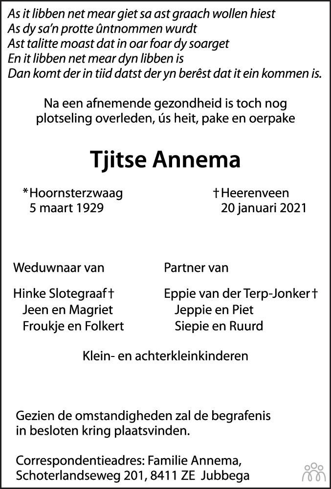 Overlijdensbericht van Tjitse Annema in Leeuwarder Courant