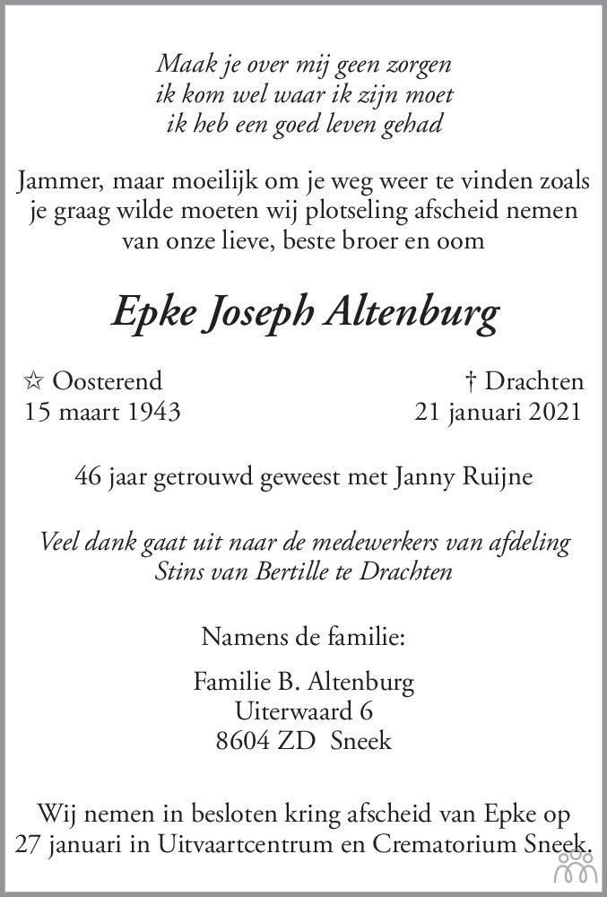 Overlijdensbericht van Epke Joseph Altenburg in Leeuwarder Courant