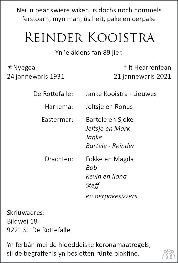 Overlijdensbericht van Reinder Kooistra in Leeuwarder Courant