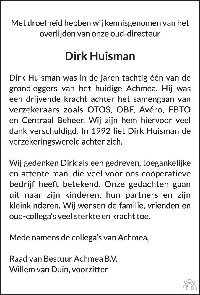 Overlijdensbericht van Dirk Huisman in Leeuwarder Courant