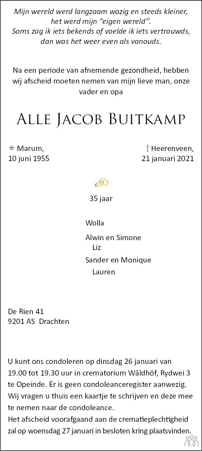 Overlijdensbericht van Alle Jacob Buitkamp in Leeuwarder Courant