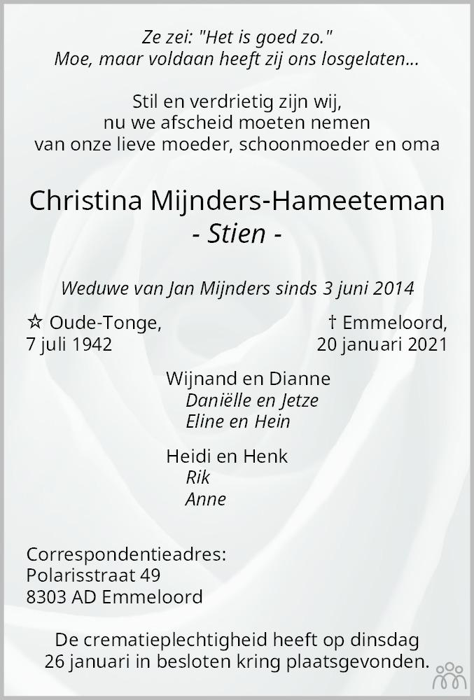 Overlijdensbericht van Christina (Stien) Mijnders-Hameeteman in Flevopost Dronten