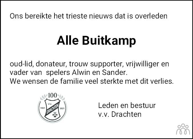 Overlijdensbericht van Alle Jacob Buitkamp in Drachtster Courant