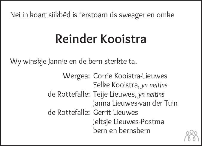 Overlijdensbericht van Reinder Kooistra in Drachtster Courant