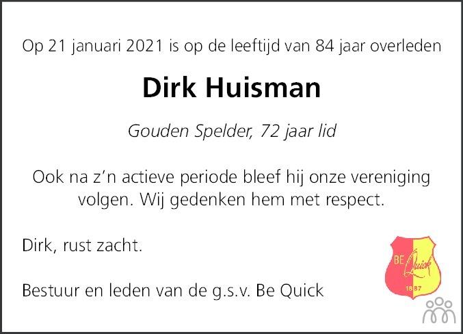 Overlijdensbericht van Dirk Huisman in Dagblad van het Noorden