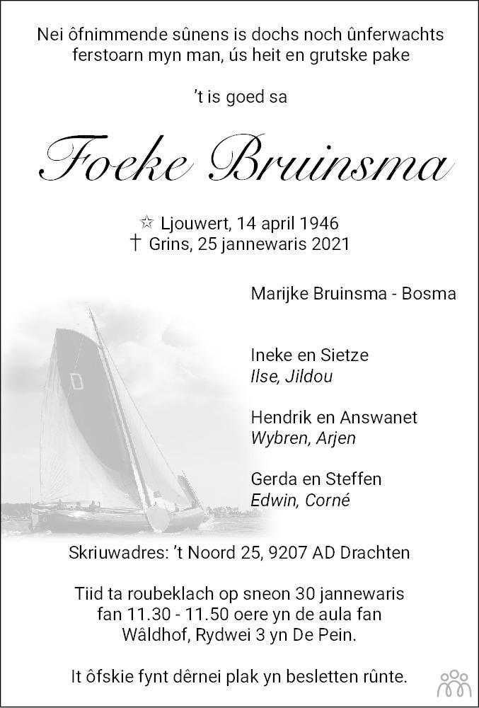 Overlijdensbericht van Foeke Bruinsma in Leeuwarder Courant